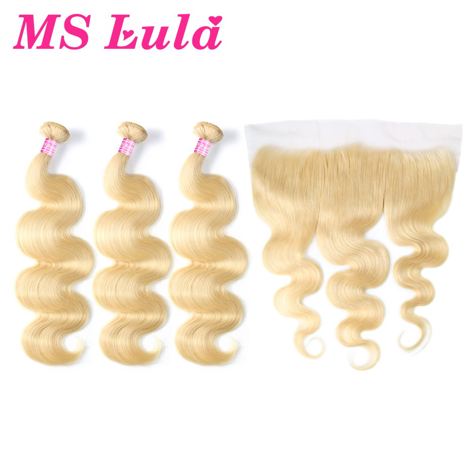 MS Lula Brazilian 613 Body Wave Blonde Human Hair 3 Bundles PCS With 13x4 Lace Frontal