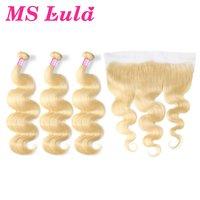 Ms lula бразильский 613 объемная волна блондинка человеческих волос 3 Связки шт с 13x4 кружева Фронтальная застежка Remy для парикмахерская Бесплат