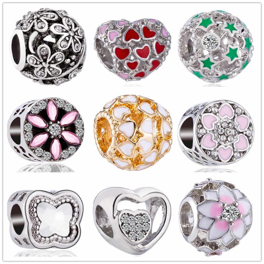 Cristal coloré creux arbre feuilles Panda étoile fleur amour coeur perles Fit Pandora charmes bracelets pour femme Bijoux à bricoler soi-même Bijoux