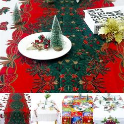 Christmas Tablecloth Cute Bowknot Santa Claus Decorative Table Cover Christmas Dinner Decor