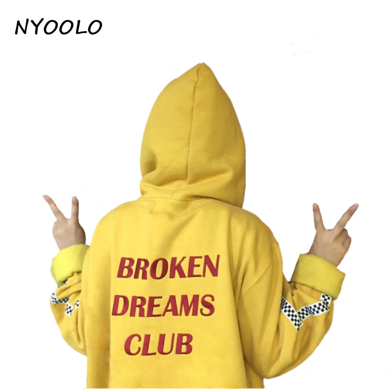 NYOOLO Style Harajuku Letters Print Autumn Winter Tops Loose Outerwear Fleece Pullovers Hooded Sweatshirt Women/men Clothing