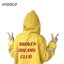 NYOOLO style Harajuku letters print autumn winter tops loose outerwear fleece pullovers hooded Sweatshirt women/men clothing
