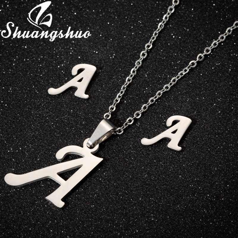 Shuangshuo Halsketten Schmuck Sets Für Frauen Brief Anhänger Halskette Edelstahl Stud Ohrringe Braut Schmuck Sets