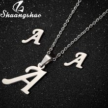 Shuangshuo Silver Necklaces Jewelry Sets For Women Letter Pendant Necklace Stainless Steel Stud Earrings Bridal Jewellery Sets(China)
