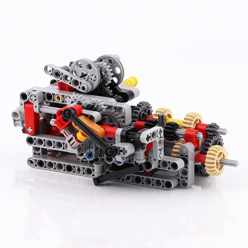 Technic 8 Geschwindigkeiten Sequentielle Getriebe Stick Motoren System Bausteine Ziegel Groß Teile Spielzeug Fit Für MOC Technik Autos Teile set