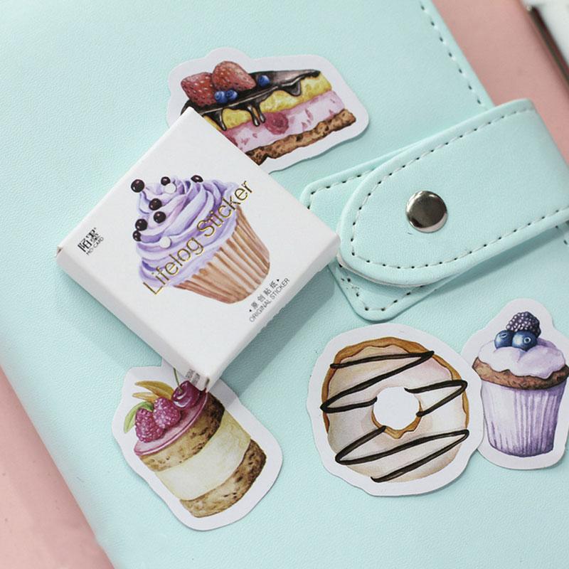 45 Pcs/Lot Happy Birthday Mini Cake Cup Paper Sticker Decoration Diy Scrapbooking Sticker Stationery Kawaii Label Stickers