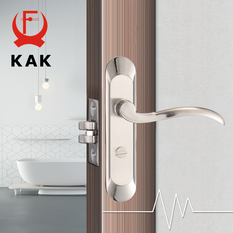 KAK Fashion Mute Bedroom Door Lock Zinc Alloy Interior Door Handle Washroom Kitchen Toilet Anti-theft Lock Furniture Hardware цена