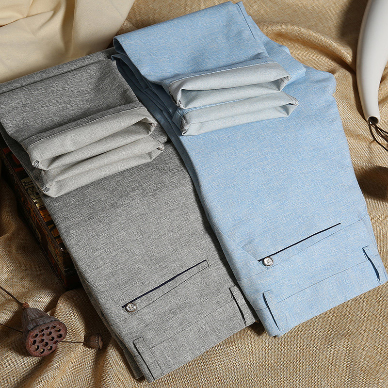 ICPANS Linen Pants Men Summer 2019 Office Classic Business Straight Men Trousers FashionMens Pants Formal New Plus Size 38 40