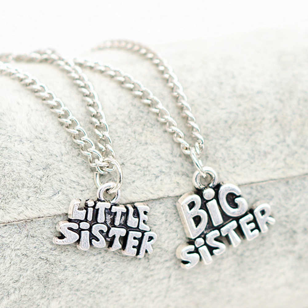 Creative Big Little Sister Letters Pendant Necklace Family Chain Jewelry Gift New Hot