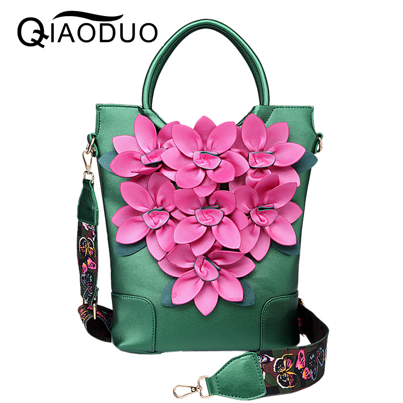 QIAODUO Luxury Handbags Women Bags Designer National Wind Retro Flowers Handbag High Quality Leather Pu Travel Bag Shoulder Bags women messenger bags designer handbags high quality 2017 new belt portable handbag retro wild shoulder diagonal package bolsa