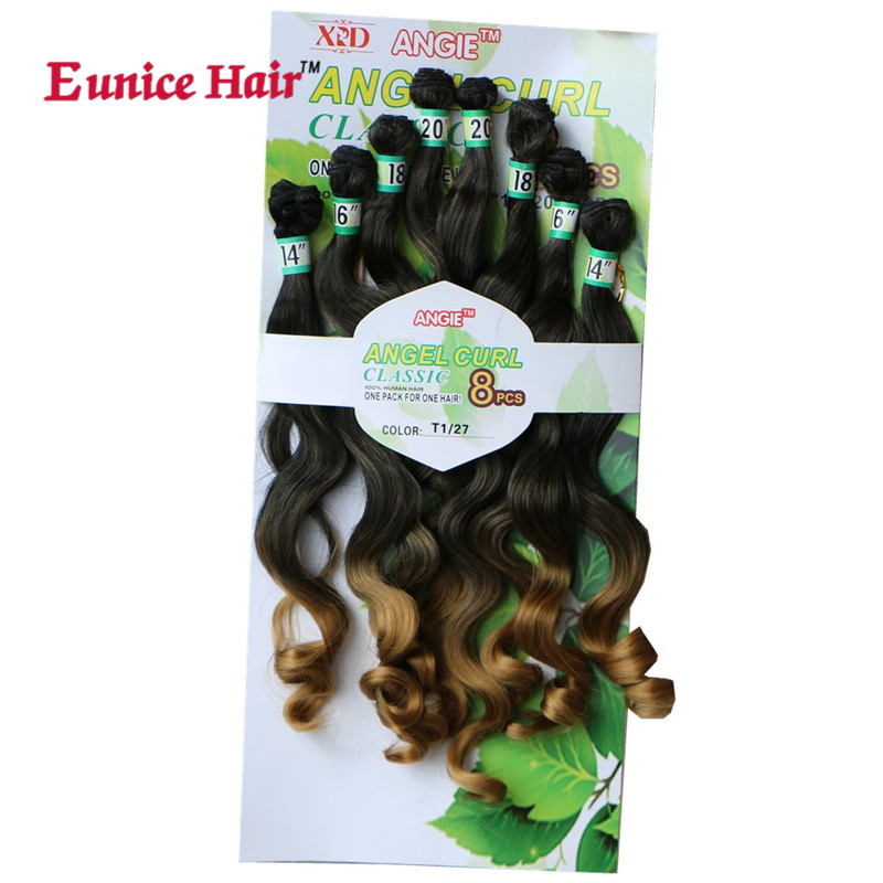 Eunice Hair 14-20 inch T1/27/30 Ombre Bundles Loose Wave Synthetic Hair Weaving 8pcs One Pack Full Head Sew in Hair Weft