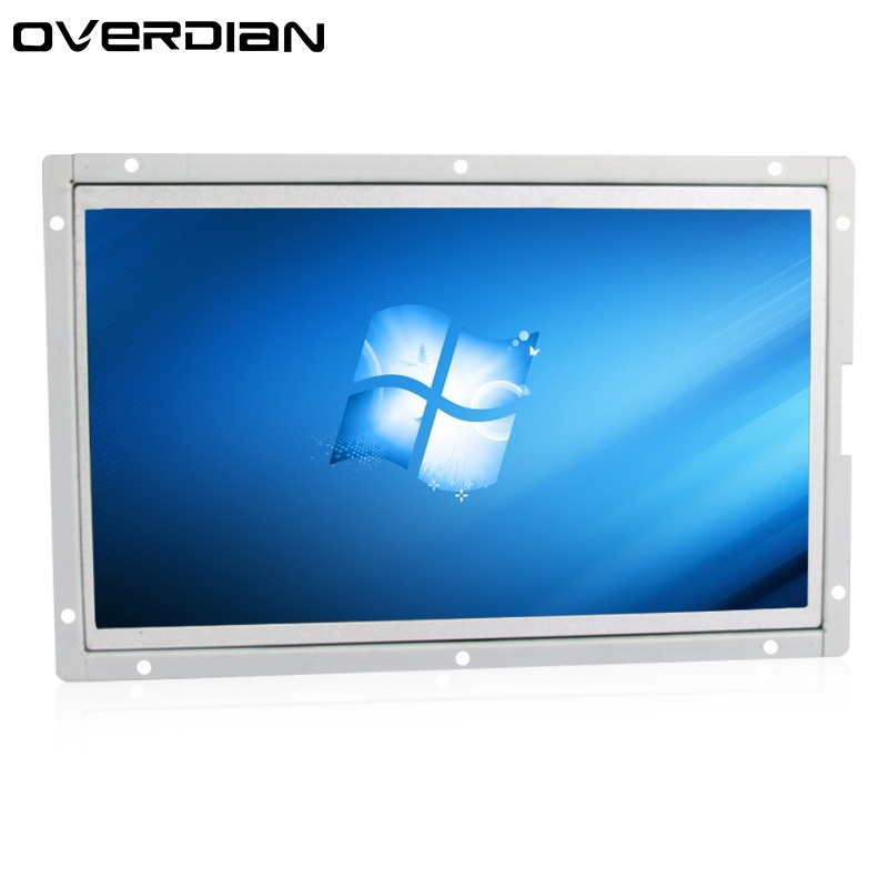 "10/10.1""VGA/DVI/USB Interface 1366*768 Industrial Control Lcd Monitor White Open Frame Metal Shell"