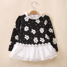 2T to 7T children girls black blue long sleeve flower lace ruffle turtleneck autumn spring princess cotton blouse tops(China)