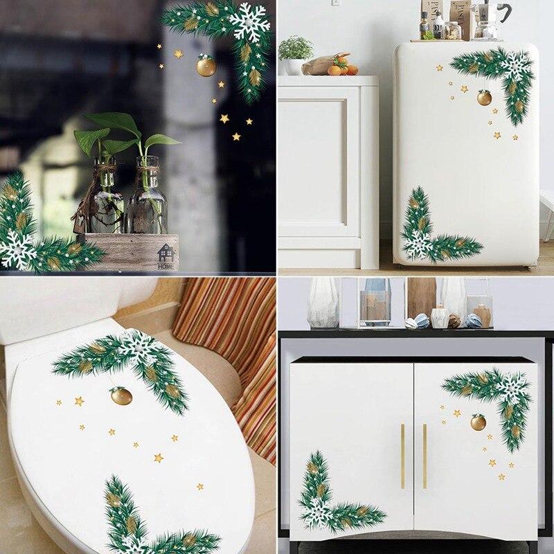 Christmas Refrigerator Wall Stickers Toilet Wall Sticker Fridge Wardrobe Window Art Mural Christmas Decoration PVC Wallpaper