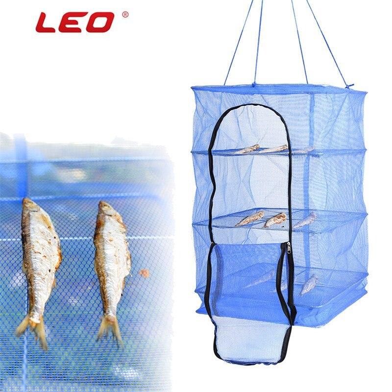 Leo colgante Redes de pesca nylon múltiples capas al aire libre Camarón pescado secado Redes Basket secadora Pesca tackle Accesorios malla