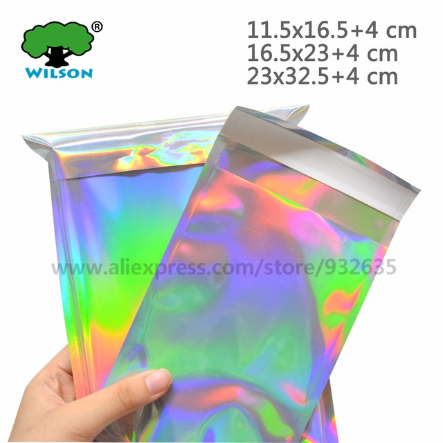 Self-seal Adhesive Courier Bags Laser Holographic Plastic Poly Envelope Mailer Postal Shipping Mailing Bags Cosmetic Underwear
