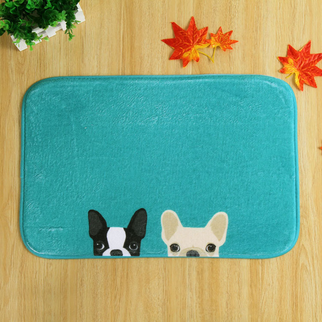 Two Cute Pet Dogs Design Front Door Mat Floor Carpet 40x60cm Coral Fleece  Rug Doormat For