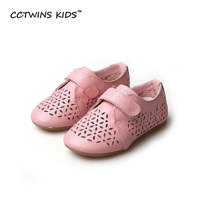 CCTWINS KIDS 2017 Summer Children Fashion Shoe Toddler Genuine Leather Hollow White Flat Baby Girl Brand Pink Slipper G1065