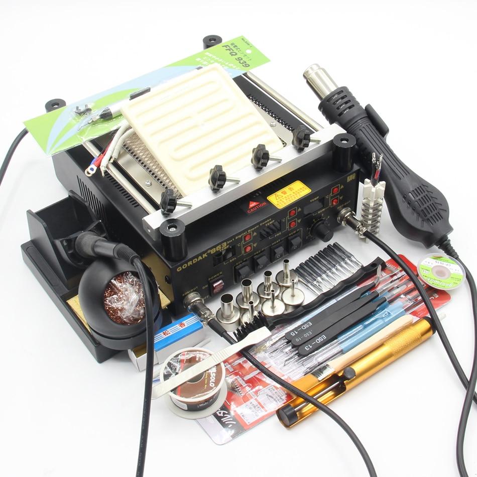 Gordak 863 3 in 1 soldering station Digital Hot Air Heat Gun BGA Rework Station Electric Welding iron infrared soldering station