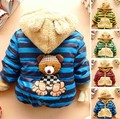New Baby Boys Jacket Cartoon Bear Baby Keeping Warm Cotton Kids Hoodies Winter Boys Coat Casual Children Outerwear  CS056
