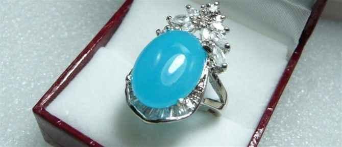 จัดส่งฟรี>>>@@ของผู้หญิงlatstes Vogueแหวนหยกสีฟ้าขนาด: 7-9 #