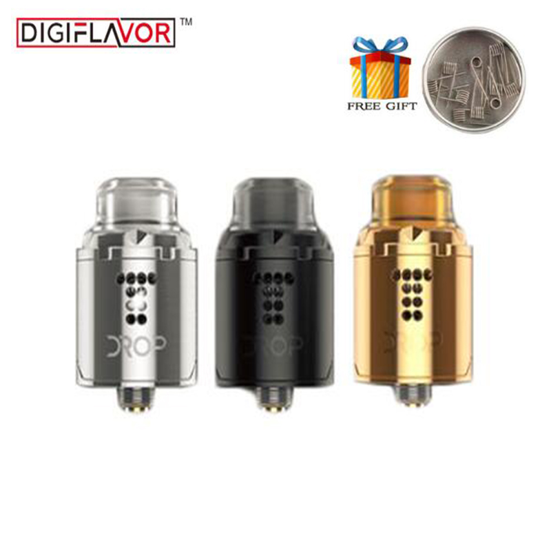 Original Digiflavor Drop Solo RDA Tank Single Coil 22mm Two Caps standard 510 and BF Squonk 510 pin Deep Base Atomizer цена