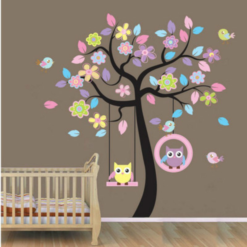 Us 6 65 9 Off Cute Owl Bird Tree Swing Wall Sticker Decal For Kids Children Baby Nursery Room Decor In Stickers From Home Garden On