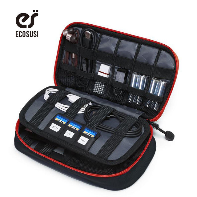 ECOSUSI Portable Digital Accessories Gadget Devices Organizer USB Cable Charger Tote Case Storage Bag Travel Organizer Bags