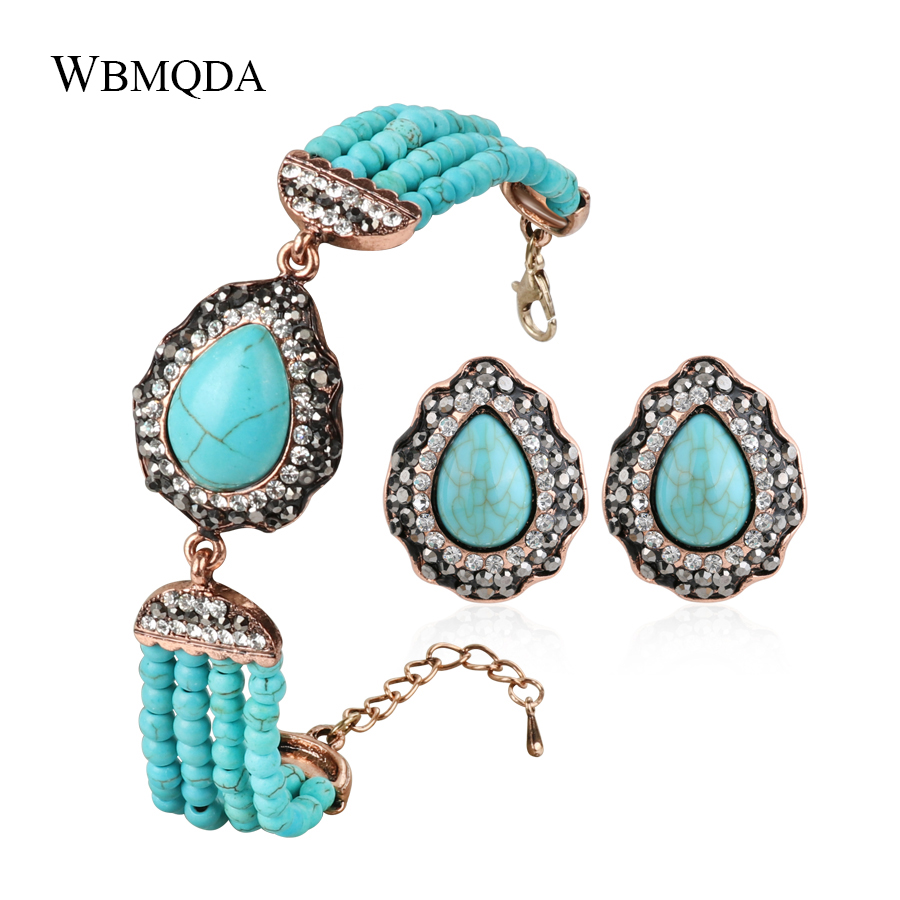 2 Pcs/lot Bohemian Jewelry Sets Blue Handmade Beads Stone Water Drop Bracelet Stud Earrings For Women Accessories Party Gifts