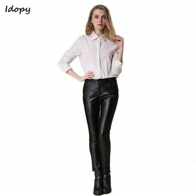 474304c3510e13 Idopy New Autumn Classic Womens Leather Pants Black PU Business Office  Women Stretch Slim Faux Leather Pants Trousers