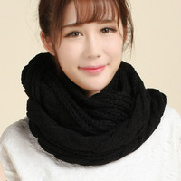 Promotion Women Scarf Winter Scarf Fashion Knitted Collar Neck Warmer Woman Crochet Ring Soild Spring Scarves
