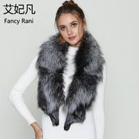 2018 100% Natural Fur Shawl Luxury Silver Fox Fur Collar Scarf 130cm Large Real Fox Collars Quality Genuine Fur Collar For Women