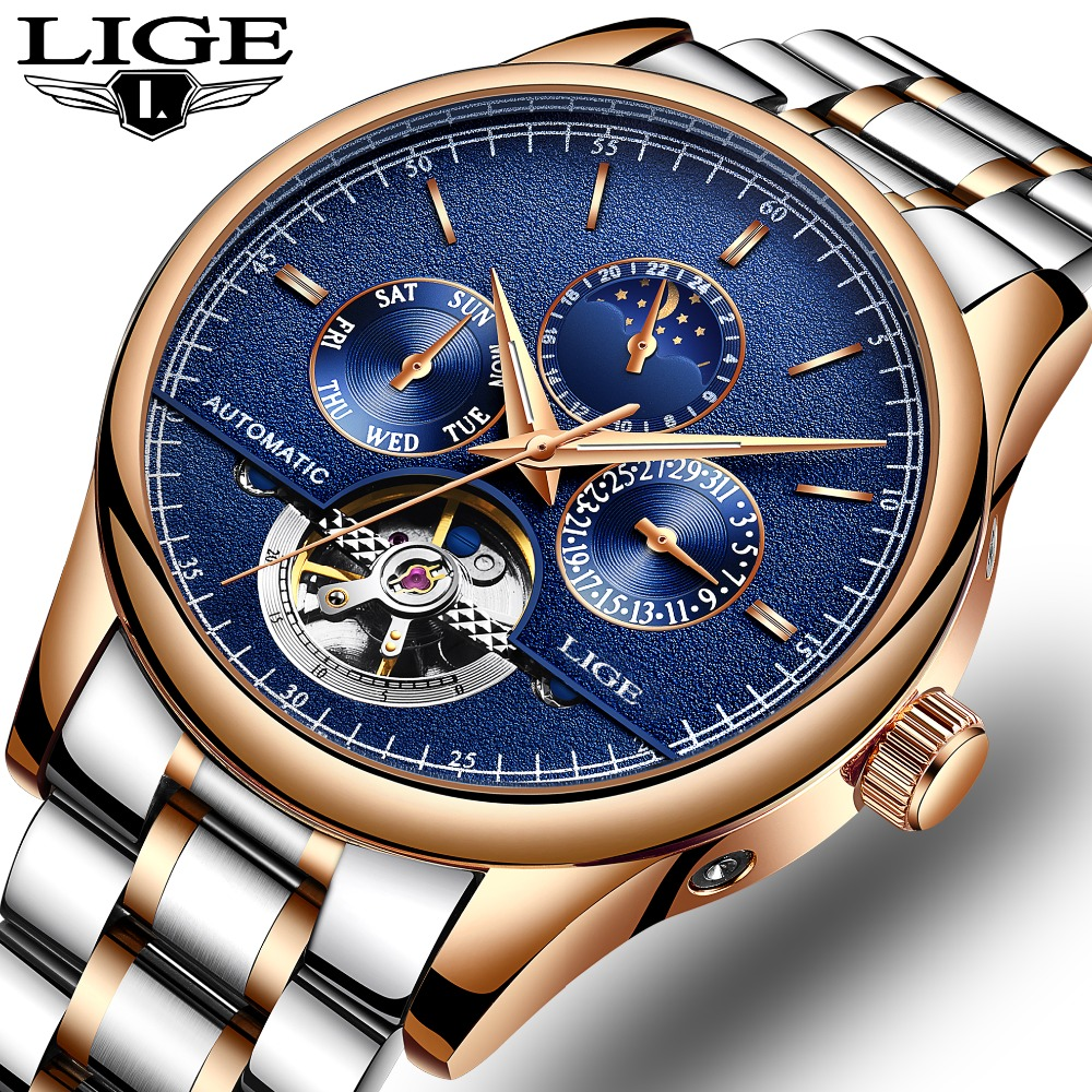 LIGE Brand Men watches Automatic mechanical watch tourbillon Sport clock full steel Casual business wristwatch relojes hombre цена