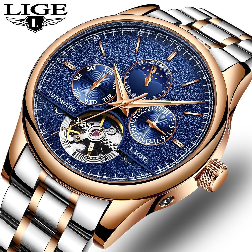LIGE Marca Degli Uomini orologi tourbillon Automatico orologio meccanico Sport orologio in acciaio pieno business Casual orologio da polso relojes hombre