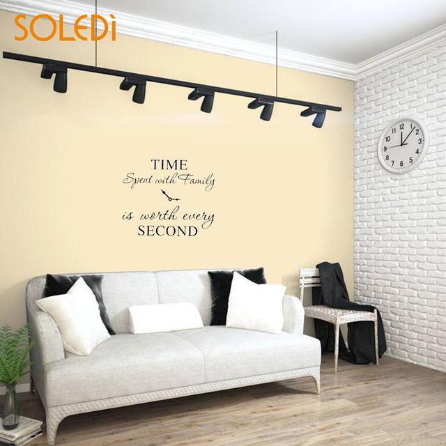 PVC Creative English Wall Sticker Clock Black Wall Decal Sticker Art Wall Stickers & PVC Creative English Wall Sticker Clock Black Wall Decal Sticker Art ...