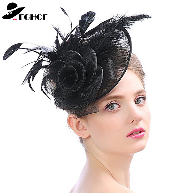 031971530ff FGHGF Elegant Solid Sinamay Fascinator Hat For Women Kentucky Derby Race Cocktail  Tea Party Hat Feather Hairclip Ladies Headband