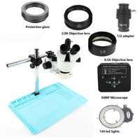 Microscope stéréo trinoculaire 7-45X simul-focal + appareil photo microscope numérique 13MP HDMI VGA + 56 lumière LED + adaptateur Mat + 1/2