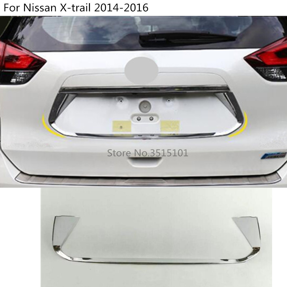 Car stick ABS chrome back Rear license frame plate trim Strip bumper hoods For Nissan X-trail xtrail T32/Rogue 2014 2015 2016