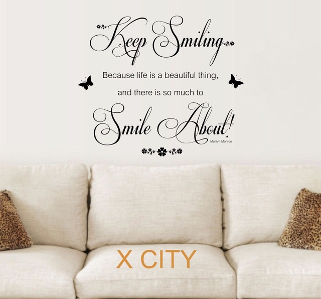 Marilyn Monroe Quote Keep Smiling Vinyl Wall Decal Art Decor Sticker