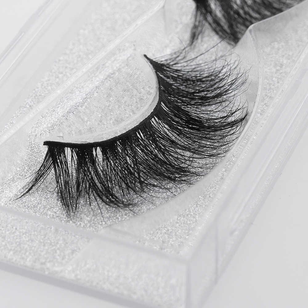 449dd6fd043 1 Pair Woman's Fashion Makeup Tools 3D 100% Real Mink Fur False Eyelashes  Natural Long