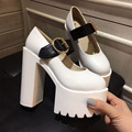 Spring Fashion Women Pumps Thick Heel Platform Shoes Dress Shoes Sexy High Heel black White Women Shoes