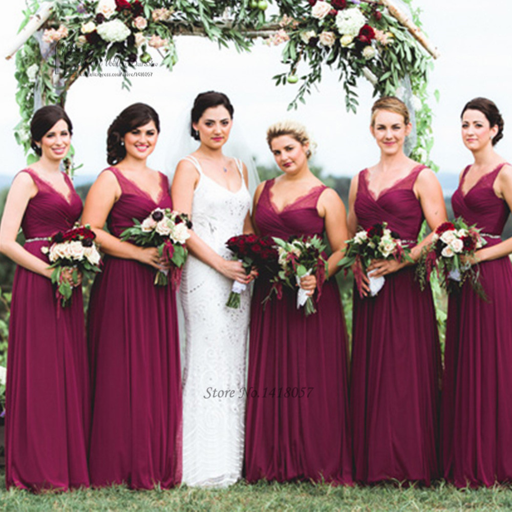 Burgundy Bridesmaid Dresses Long Vestido De Festa De