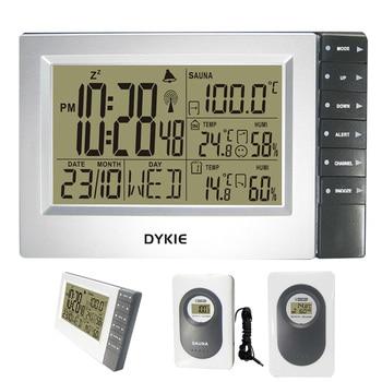 デジタルワイヤレスウェザーステーション付き屋内屋外温度計湿度計サウナ温度デジタル目覚まし時計2トランスミッタデジタル時計