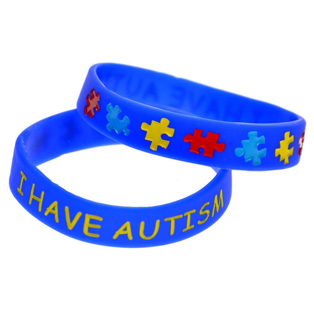 ebea59b8f0dd OneBandaHouse 1PC Multicolors Logo Puzzle Bracelet in kids Size I have  Autism Silicone Wristband