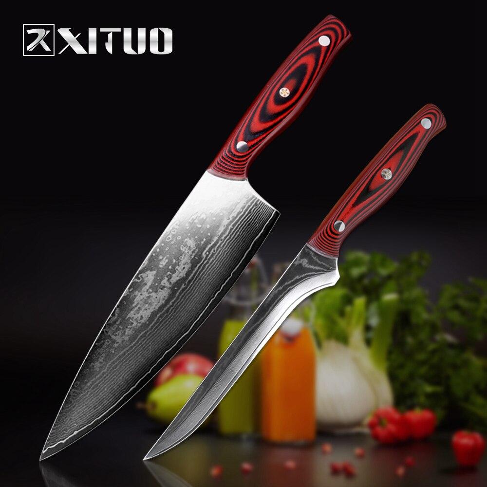 XITUO ensemble couteau damas cuisine japonaise couteau chef damas acier poisson sashimi sushi steak agneau tranchage + couteau à désosser-in Ensembles de couteaux from Maison & Animalerie    1