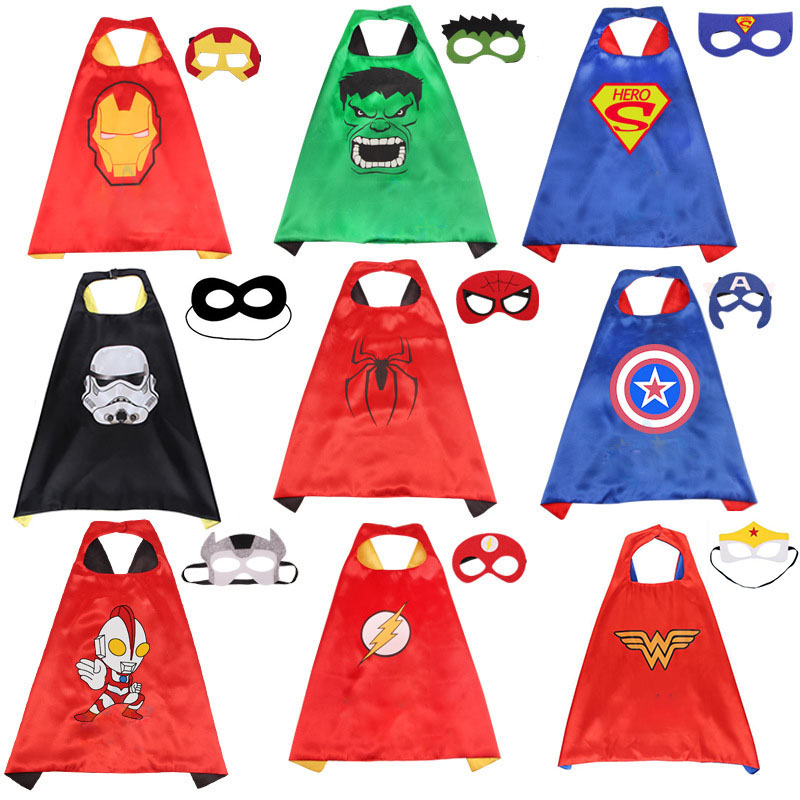 Marvel Avengers Figure Super Heros Cosplay Cloak Cape Shawl Captain America Spider man Thor Hulk Halloween Cosplay Toy Eye Mask