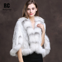 [Rancyword] Winter Shawl Wrap Poncho Real Knit Mink Fur shawl With Fox Trimming Real fur Jacket coats party 2017 new RC1312