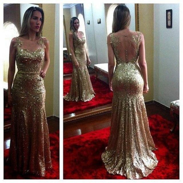 27e785ac623e Brilliant Design Spaghetti Straps Custom Made Mermaid Open Back Prom  Dresses Long Gold Sequin Dress