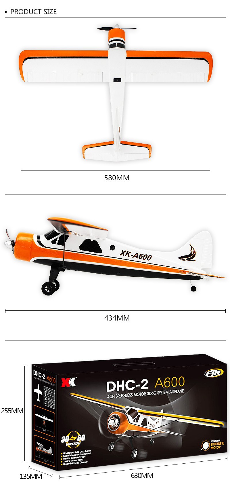 XK DHC-2 A600 -5CH-3D6G System Brushless -RC Airplane- Compatible Futaba -RTF-SIZE