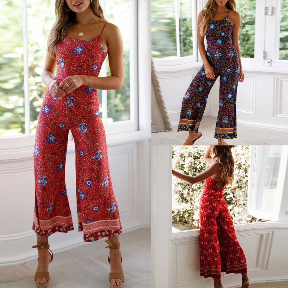 FREE OSTRICH Personality Women's Leg Pants Long   Jumpsuit   Backless Strap Sling Sexy Flower Print Bouquet Waist Beautiful   Jumpsuit